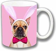Beige Französische Bulldoge Ostern Hasenohren Fliege Keramik Tee Kaffee Tasse Einzigartige Geschenkidee