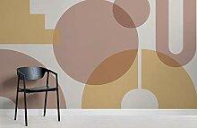 Beige Geometric Shapes Modern Bauhaus Wallpaper