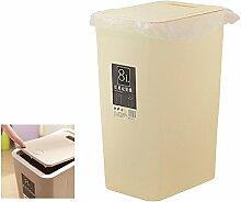 Beige Mülleimer,BAFFECT® Küche Mülleimer Mülleimer Recycling Müll Küche Mülleimer mit Deckel Mülleimer Mülleimer Papierkorb für Küche Badezimmer Schlafzimmer Wohnzimmer Büro 8L (Beige)