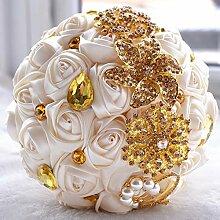Beige Satin Blume Braut Hochzeit Blumenstrauß mit