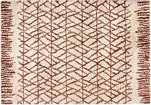 Beige und roter moderner Fliesen-Teppich 200 x 290