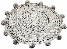 beiguoxia 80cm handgefertigt Woven Strick Crochet Baby Kinder spielen Matte Teppich Home Decor, Kaschmir-Imitat, hellgrau, Einheitsgröße