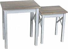 Beistelltisch 2er Set Vintage MDF Holz 56x35x29cm weiss braun Kleinmöbel