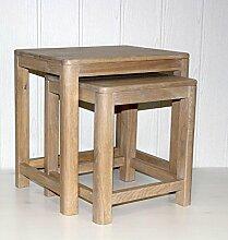 Beistelltisch 2er Set Vollholz Zweisatztisch Tischset Wildeiche massiv hell geöl