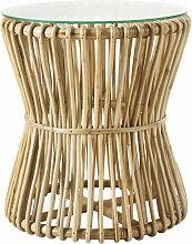 Beistelltisch aus Bambus mit Glasplatte