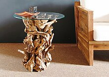 Beistelltisch aus Holz REGINA Glasplatte Ø 60cm Teaktisch Wurzelholz Couchtisch