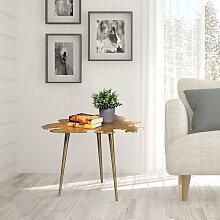 Beistelltisch Blatt Wohnzimmertisch gold Design