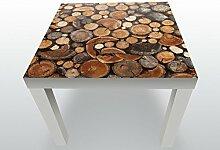 Beistelltisch Brennholz Haufen Designtisch Deco Kunstdruck | Weiß | Hochglanz