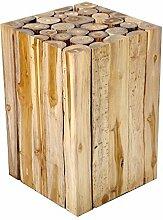 Beistelltisch Couchtisch Teakholz Teak massiv Holz Block Hocker Blumenhocker Design Nachttisch + Brillibrum Flyer Geschenke Geschenkidee Kinder
