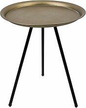 Beistelltisch Dreibein rund Vintage Design Metall schwarz champagne Tisch Möbel (43x35x35cm)
