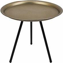 Beistelltisch Dreibein rund Vintage Design Metall schwarz champagne Tisch Möbel (33x35x35cm)