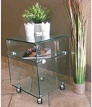 Beistelltisch Glastisch auf Rollen modernes Design
