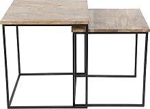 Beistelltisch Hemis schwarz mit Holz quadratisch