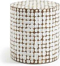 Beistelltisch in Säulenform Weiß und Braun