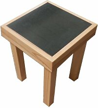 Beistelltisch Kernbuche + Granit. Maße 35x35x45cm