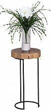 Beistelltisch Massiv-Holz Akazie Wohnzimmer-Tisch Metallbeine Landhaus-Stil Baumstamm-Form Echt-Holz Natur