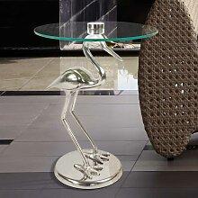 Beistelltisch mit runder Glasplatte Säulengestell