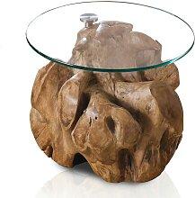 Beistelltisch mit runder Glasplatte Teak Wurzelholz