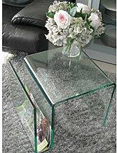 Beistelltisch mit Zeitungsständer Glas 48x42x38