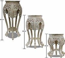 Beistelltisch Nachttisch Rundhocker Blumenhocker Teak Holz Hocker Barock Massiv, Farbe:Whitewash;Größe:80 cm