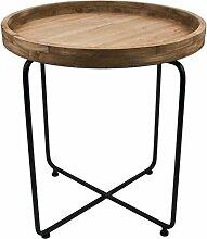 Beistelltisch rund Vintage Design Metall Holz schwarz braun Tisch Möbel (51x75x75cm)