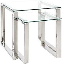 Beistelltisch Set aus Glas und Edelstahl