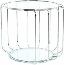 Beistelltisch Shirley 110 Silber Rund Metall Glas