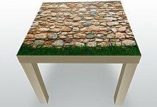 Beistelltisch Steinmauer mit Gras Designtisch