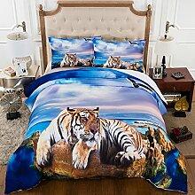 BEIZI 3D Strand Tiger Bettwäsche-Set Schlafzimmer