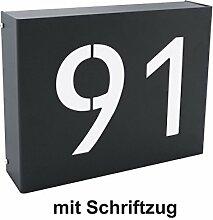 """Beleuchtete LED Edelstahl Design Hausnummer """"Piazza Neo"""" Hausnummernleuchte Außenleuchte - Thorwa® Design (RAL7016 (Anthrazit) - Hausnummer + Schriftzug)"""