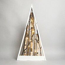 Beleuchtete Weihnachtsdeko Holz Tannenbaum mit Weidenzweigen, 10 LEDs warmweiß, 55cm, von Festive Lights