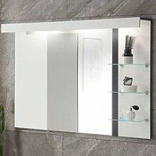 Beleuchteter Badspiegel mit seitlicher Ablage
