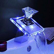 Beleuchteter Glas LED Wasserhahn Bad Wasserfall