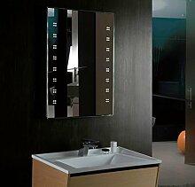 Beleuchteter LED Bad Spiegel mit Antibeschlag & Steckdose 800x600mm IP44 Delta