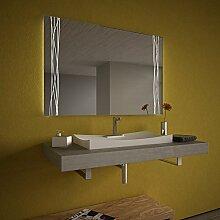 Beleuchteter Spiegel mit LED Swing Lines - B 1300mm x H 800mm - warmweiss