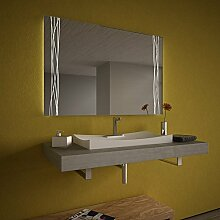 Beleuchteter Spiegel mit LED Swing Lines - B 1500mm x H 800mm - warmweiss