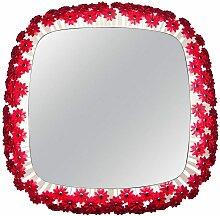 Beleuchteter Vintage Spiegel mit roter Blume von