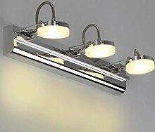 Beleuchtung Edelstahl-Spiegel-Lampe, Badezimmer-Wand-Lampe Schreibtisch-Lampe ( Farbe : Gelbes Licht-9w46cm )