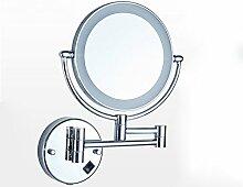 Beleuchtung LED-Make-up-Spiegel, Falten mit Licht Free Stanzen Bad Teleskop-Beauty-Spiegel Bad Wand Hanging Sided Large Mirror ( Farbe : Silber )