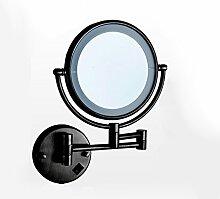 Beleuchtung LED-Make-up-Spiegel, Falten mit Licht Free Stanzen Bad Teleskop-Beauty-Spiegel Bad Wand Hanging Sided Large Mirror ( Farbe : Schwarz )