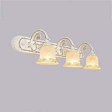 Beleuchtung LED-Spiegel-vordere Lichter, Retro- Badezimmer-Lichter Einfache Abricht-Wand-Lichter wasserdichte Wand-Lampe, Creme-Farbe ( Farbe : Three head )