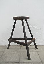 Belgischer Industrieller Dreifuß Holzhocker,