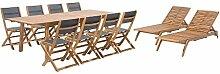 Beliani Gartenmöbel Set Holz 8-Sizer Textilene