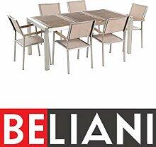 Beliani Gartentisch aus Edelstahl - Platte aus