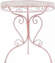 Beliani - Gartentisch Rosa Metall Rund Balkon