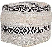 Beliani Pouf cremeweiß 50 x 50 cm Boho Baumwolle