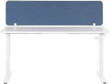 Beliani - Schreibtisch Trennwand Blau Stoff PET