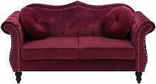 Beliani - Sofa Dunkelrot Samtstoff 2-Sitzer