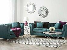 Beliani Sofa Set aus Samtstoff Blau-Grün 2-Sitzer