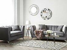 Beliani Sofa Set aus Samtstoff Grau 2-Sitzer